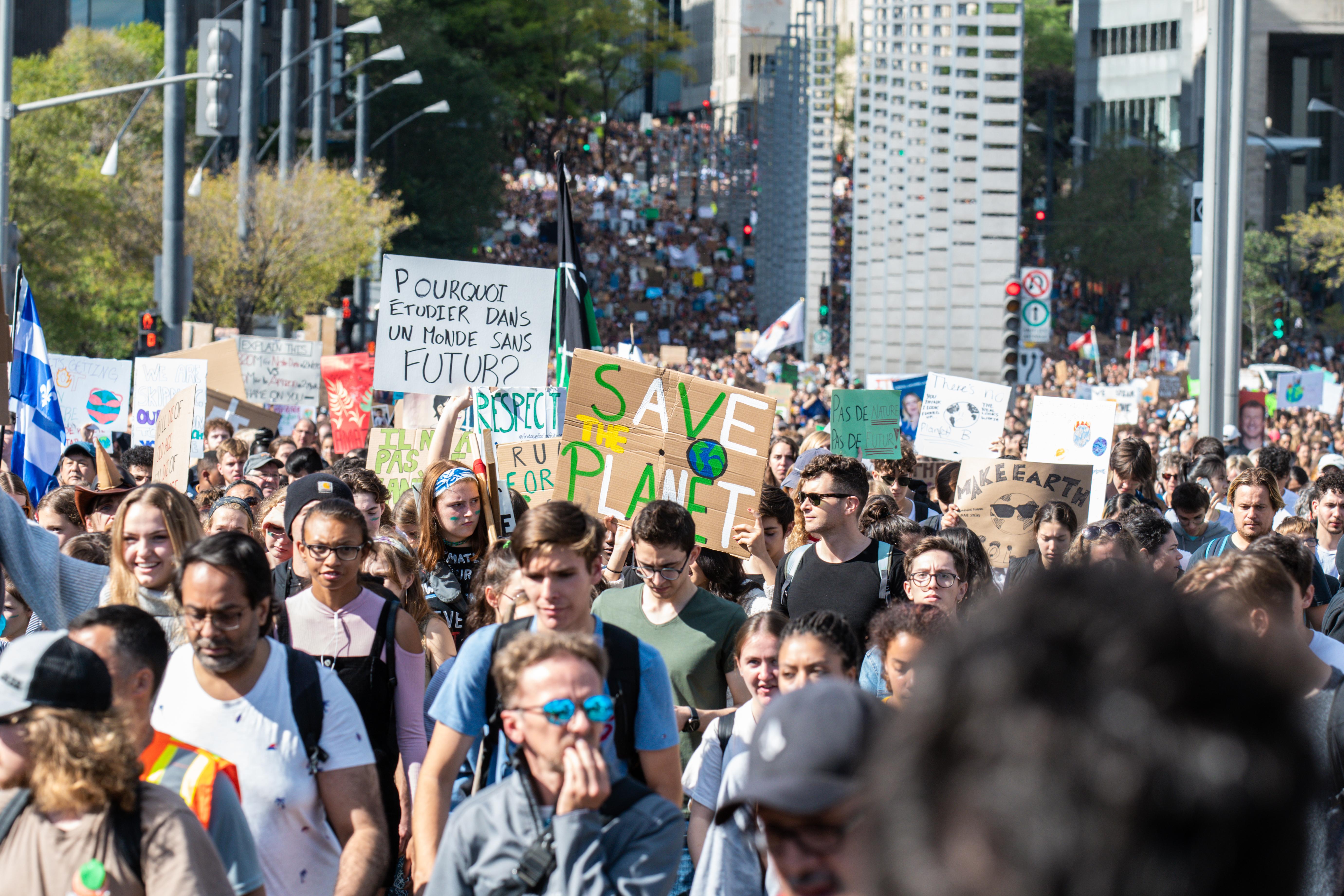 Manifestantes en Montreal.