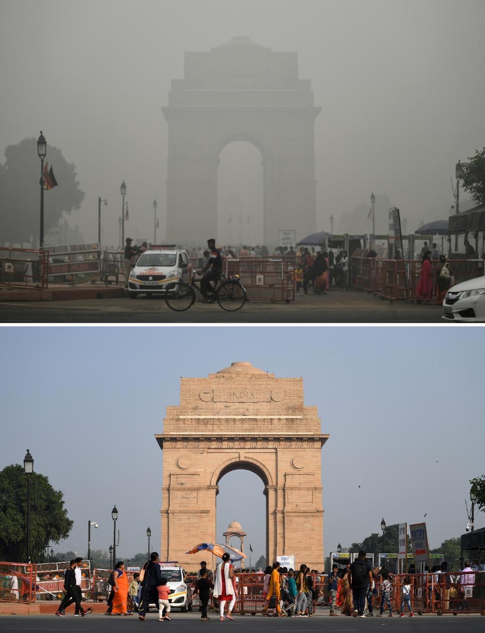 Esta imagen muestra la contaminación sufrida hace un par de días en comparación a este martes. Sin embargo el aire sigue viciado.