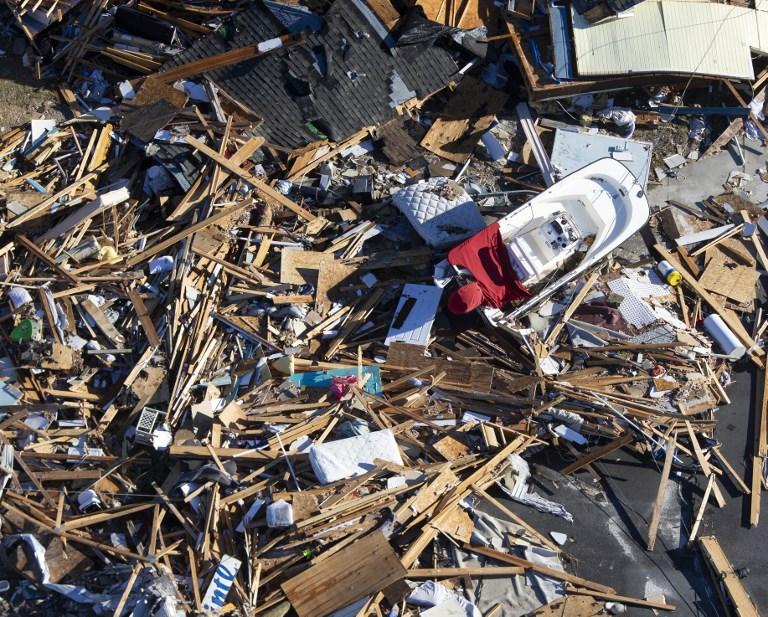 Zona devastada en Florida por efectos de Michael.