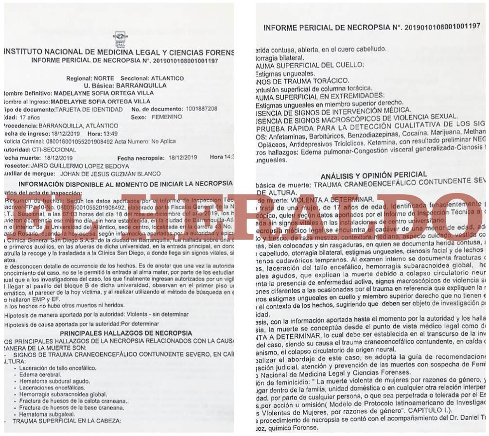 Facsímil del informe pericial de necropsia que  realizó Medicina Legal al cuerpo de Madelayne Ortega.