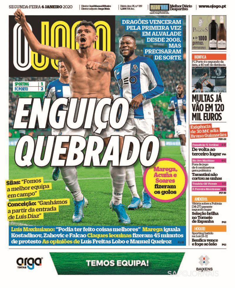 El diario portugués Ojogo lo destaca en su primera plana al guajiro Luis Díaz.