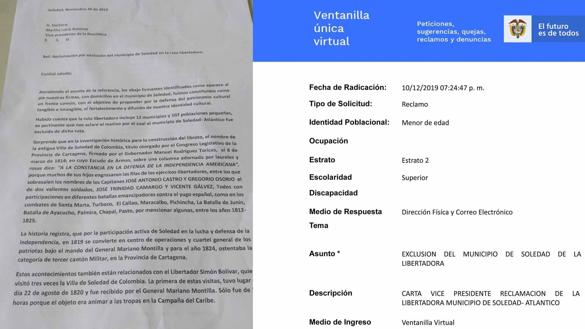 Carta. Esta es la primera de las 4 páginas que tiene la misiva dirigida a la vicepresidenta Marta Lucía Ramírez, en la que reclaman la exclusión de Soledad. Radicado.  El documento fue enviado a través de la ventanilla única virtual de la Vicepresidencia, el 10 de diciembre. La solicitud fue presentada como un reclamo.