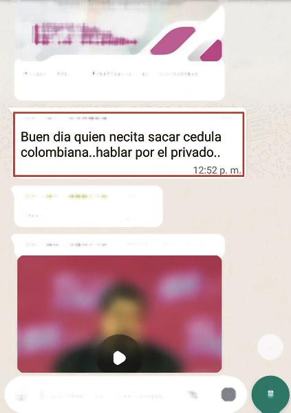 Mensaje enviado por uno de los grupos de WhatsApp.