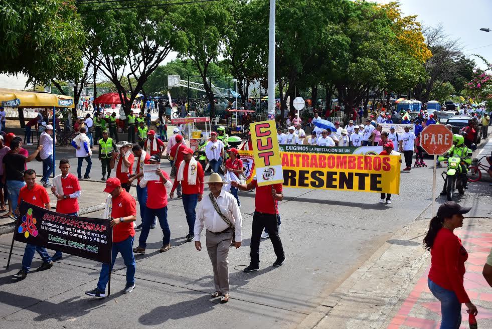 Sindicatos en el Cesar se tomaron las calles de Valledupar.