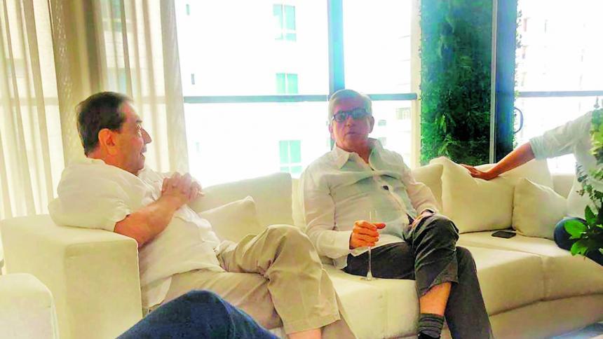Reunión de Fuad Char y César Gaviria en el Giardino.