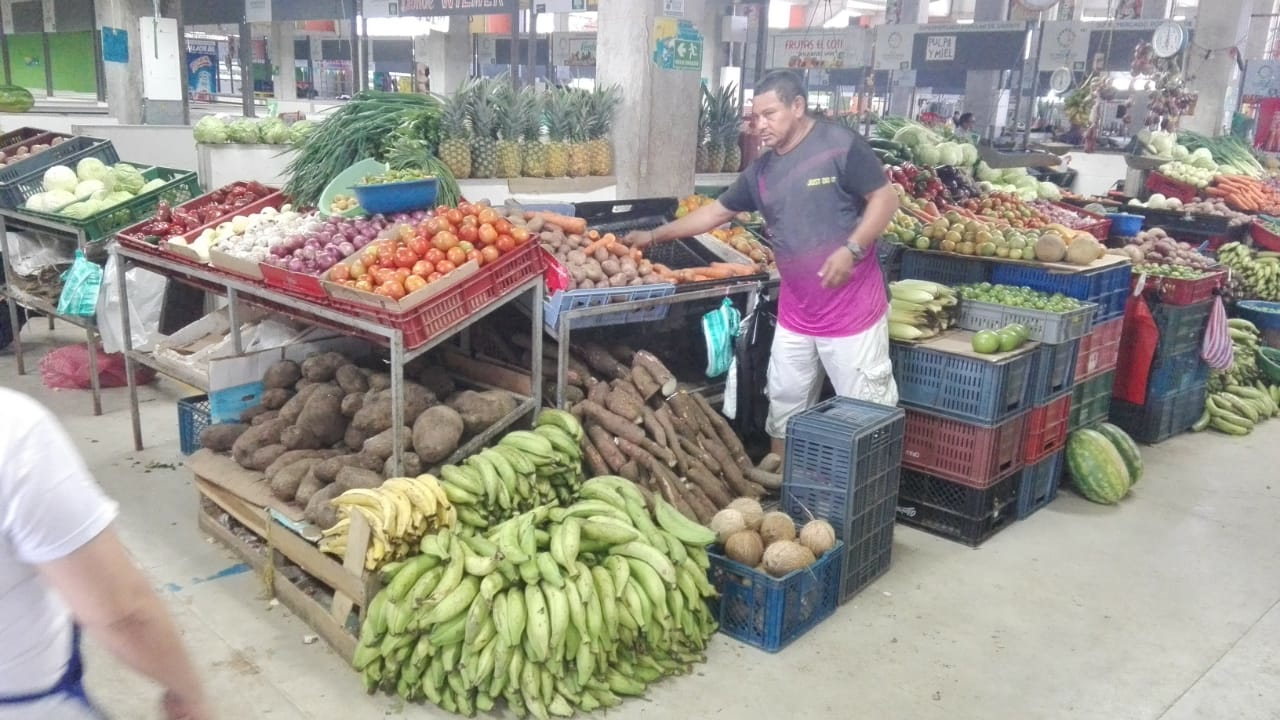 Uno de los vendedores de plátano verde en su puesto ubicado en el mercado de Montería.