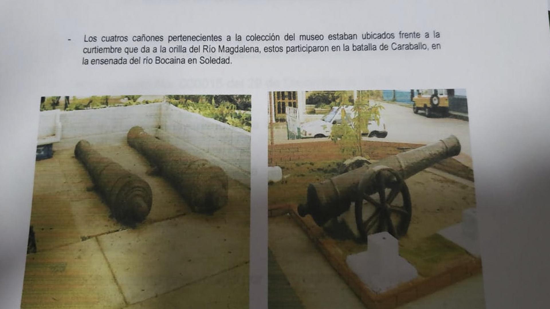 Uno de los cañones usados en la batalla  de Caraballo.