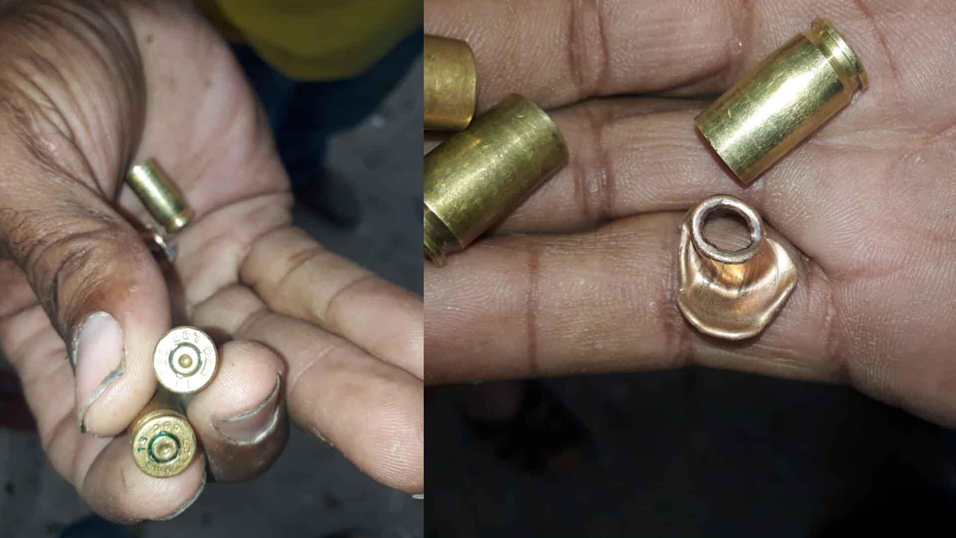 Casquillos de las balas que, según los familiares, habrían impactado a la víctima.