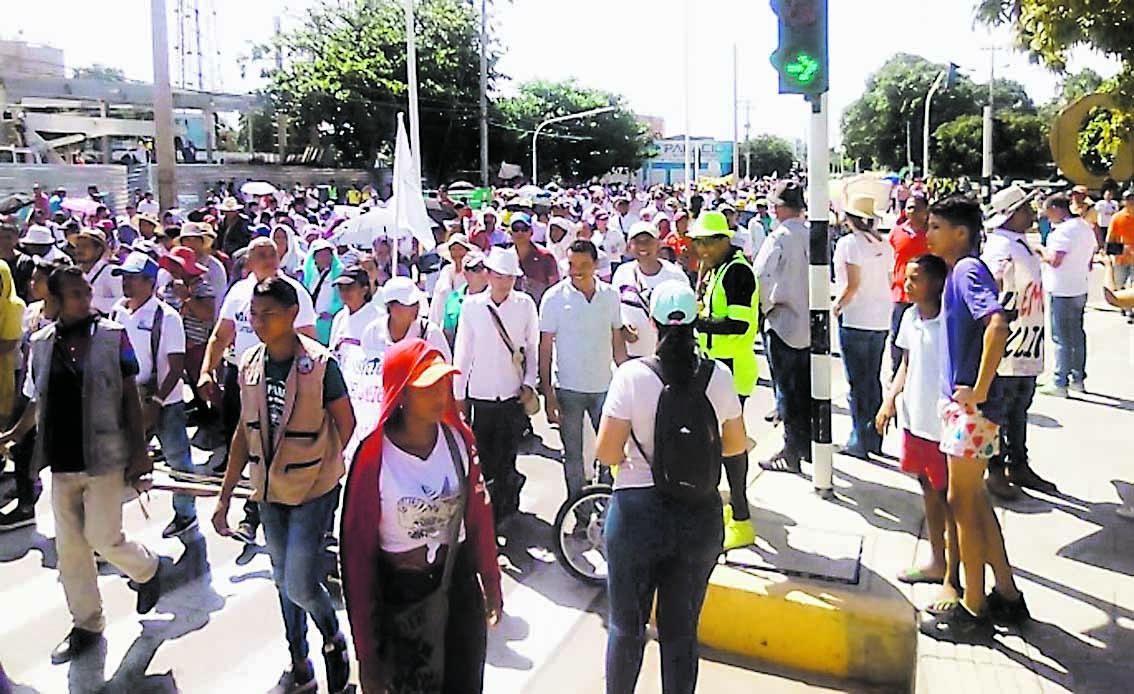 Un grupo de manifestantes en Valledupar