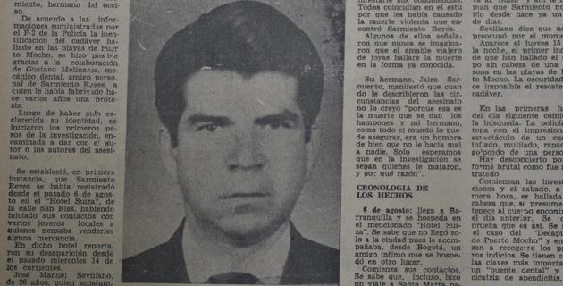 Publicación de EL HERALDO sobre el asesinato del comerciante Milton Sarmiento en 1974.