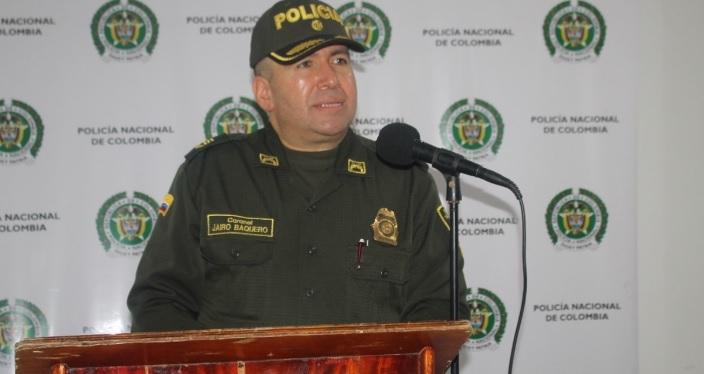 Coronel Jairo Baquero, comandante de Policía de Córdoba.