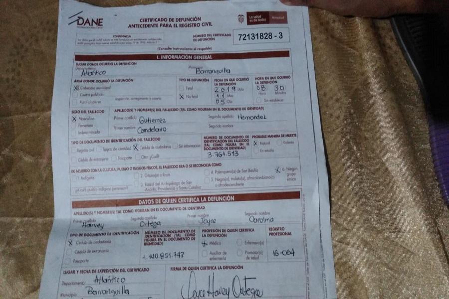 Acta de defunción de Candelario Gutiérrez Hernández.