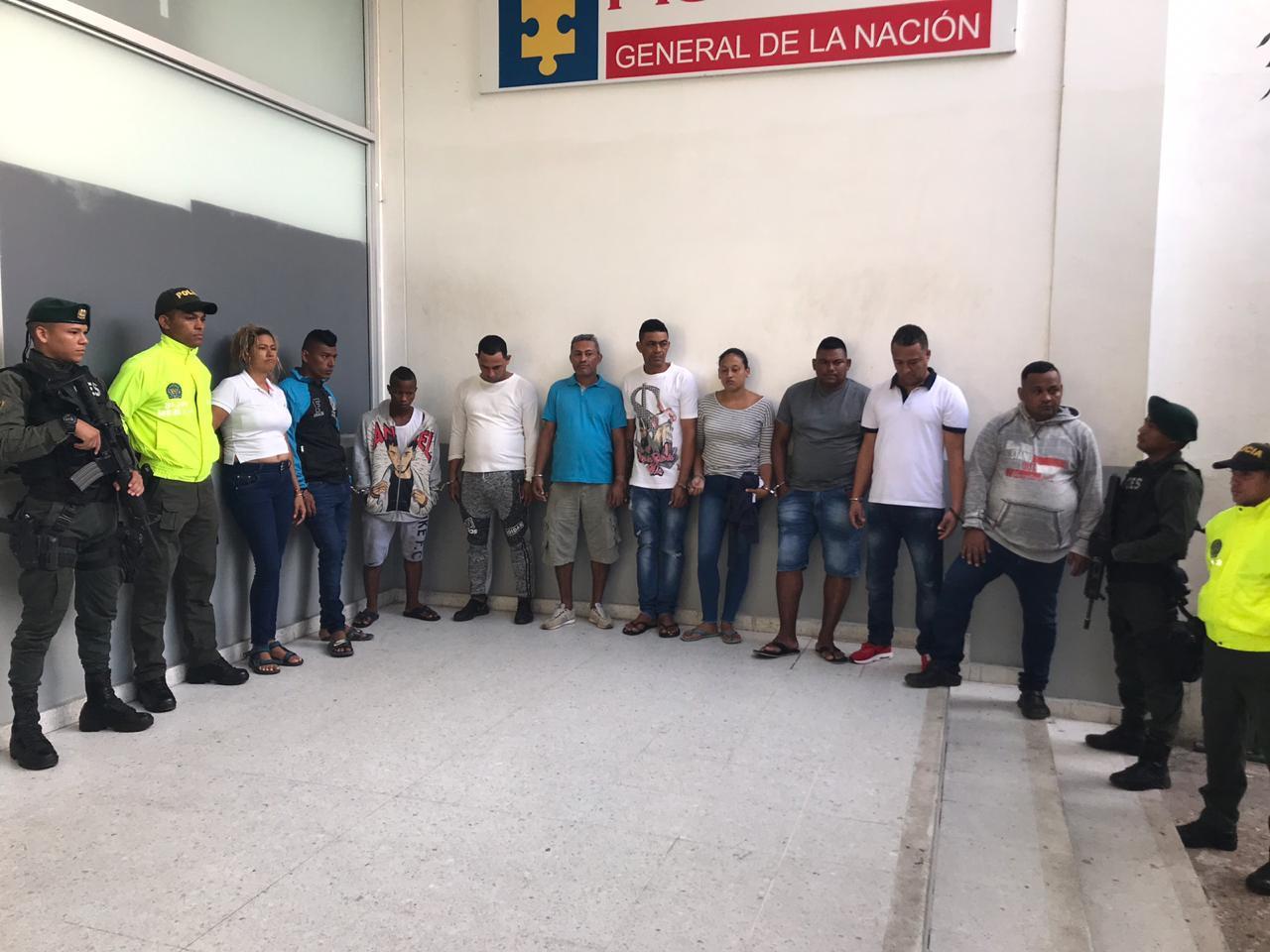 Los diez capturados durante la operación 'Renacimiento de La Chinita'.
