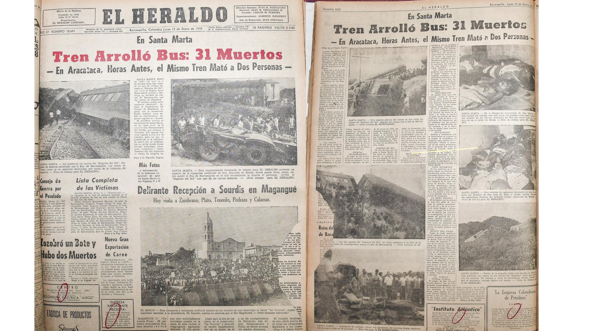 Portada de EL HERALDO sobre el accidente./ EL HERALDO hizo completo cubrimiento.