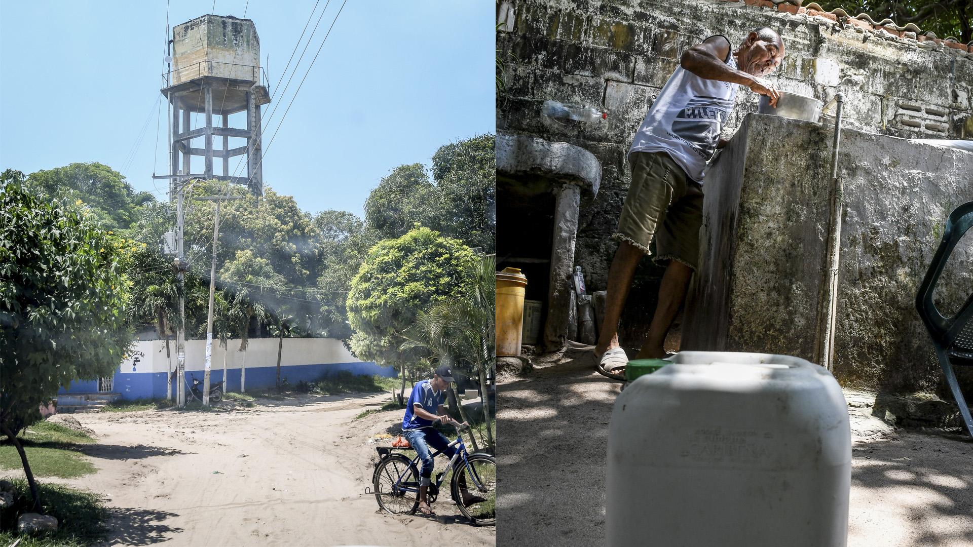 El tanque de agua de Caracolí lleva diez días sin abastecer al pueblo. A la derecha, Néstor Guerrero aprovecha el agua de las pimpinas para lavar la loza.