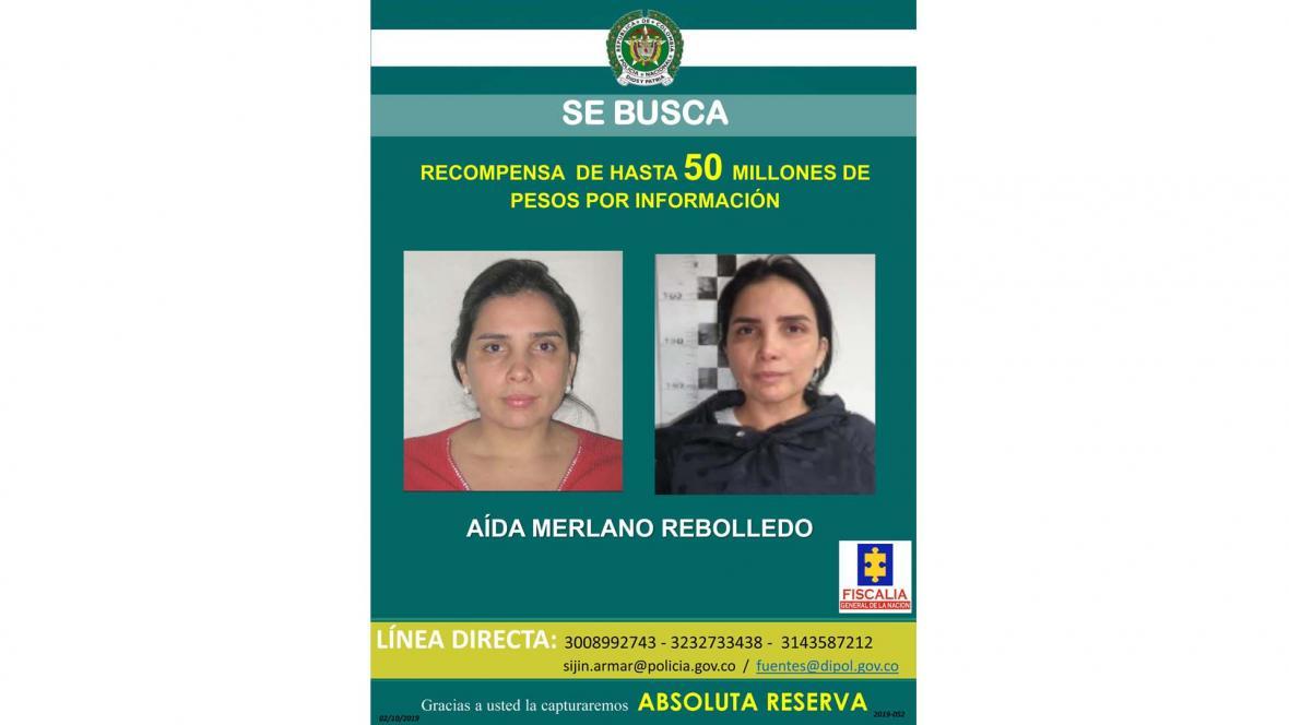 Este es el cartel emitido por la Policía con el que buscan a Aida Merlano.