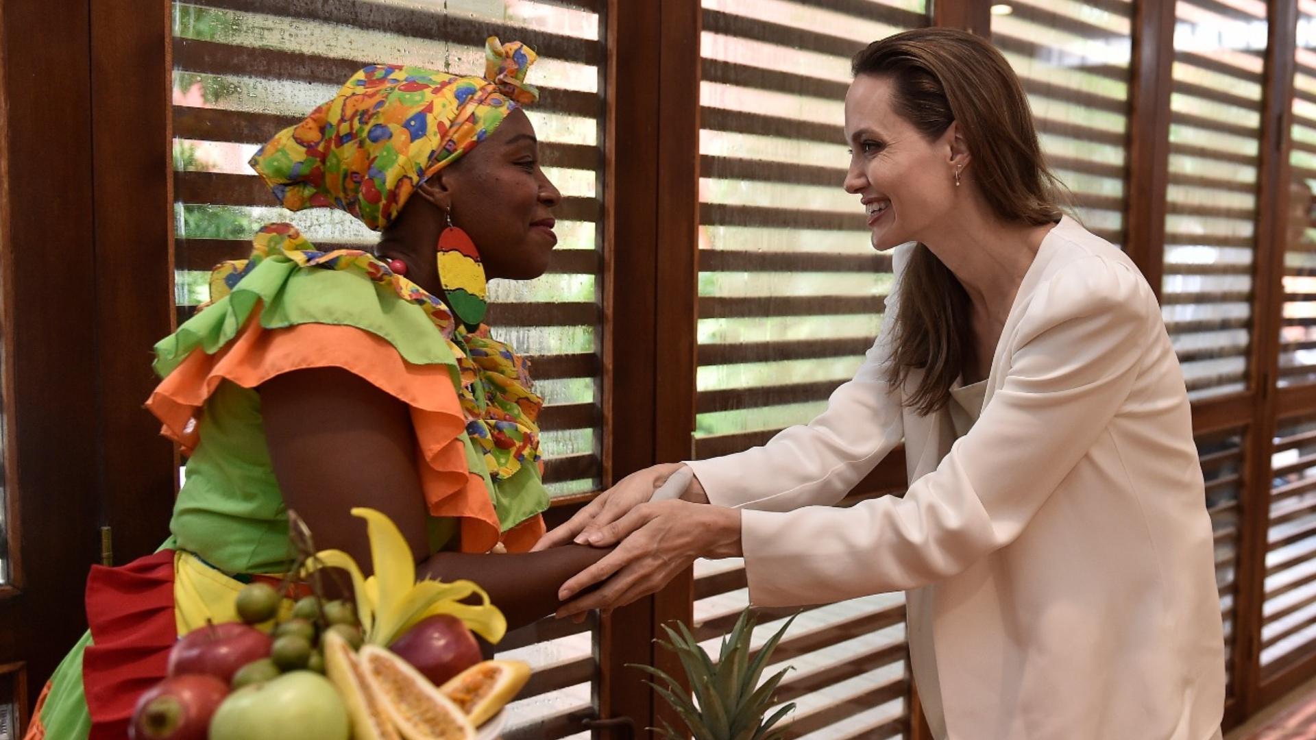 Angelina Jolie durante su visita en Cartagena.