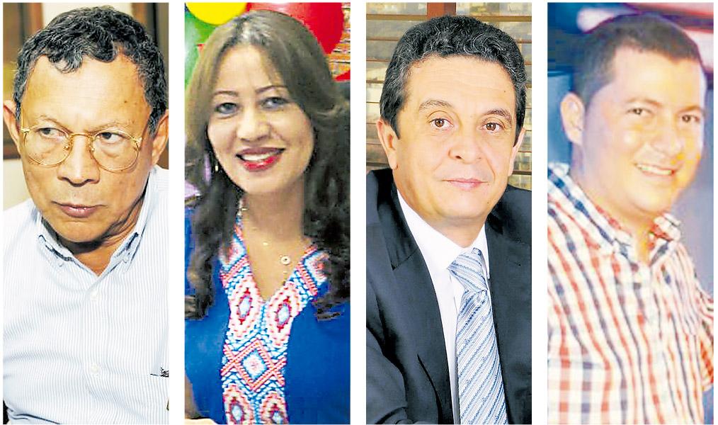 De izquierda a derecha: Marcelo Torres, ex alcalde de Magangué; Silvia Ospino, ex alcaldesa de Dibulla; José García Sanleandro, ex gerente de Electricaribe, y Orlando Medina, ex alcalde de Chinú.