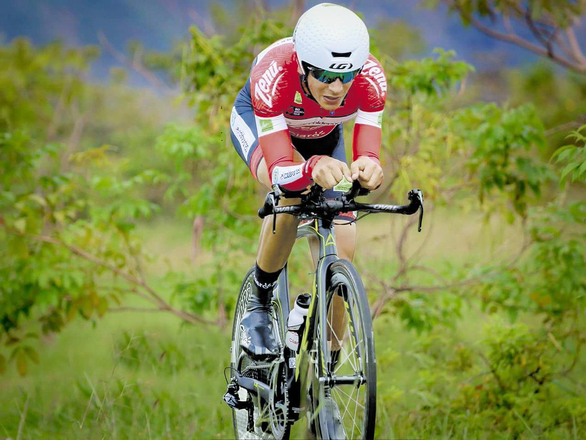 El ciclista barranquillero Nelson Soto, en entrenamientos.
