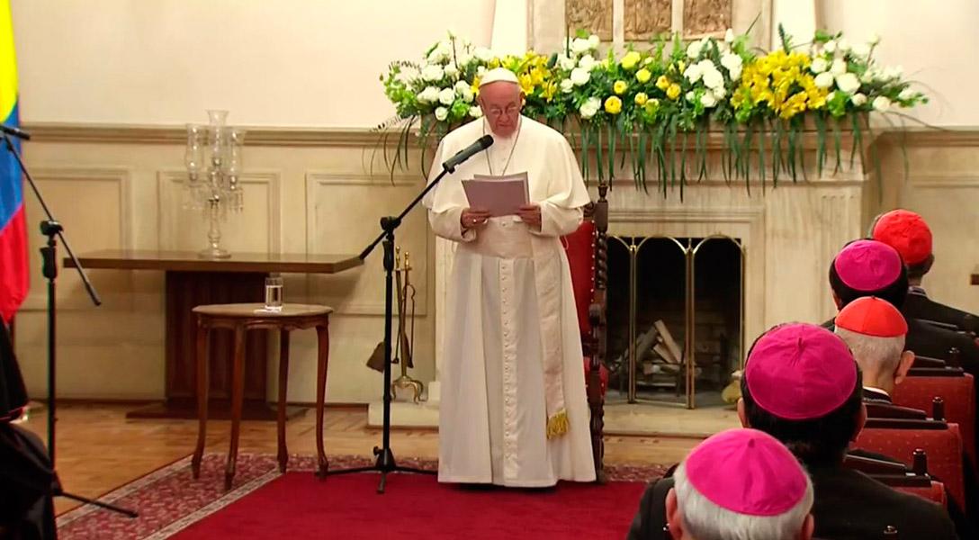 El papa Francisco durante su encuentro con los obispos de la Celam.