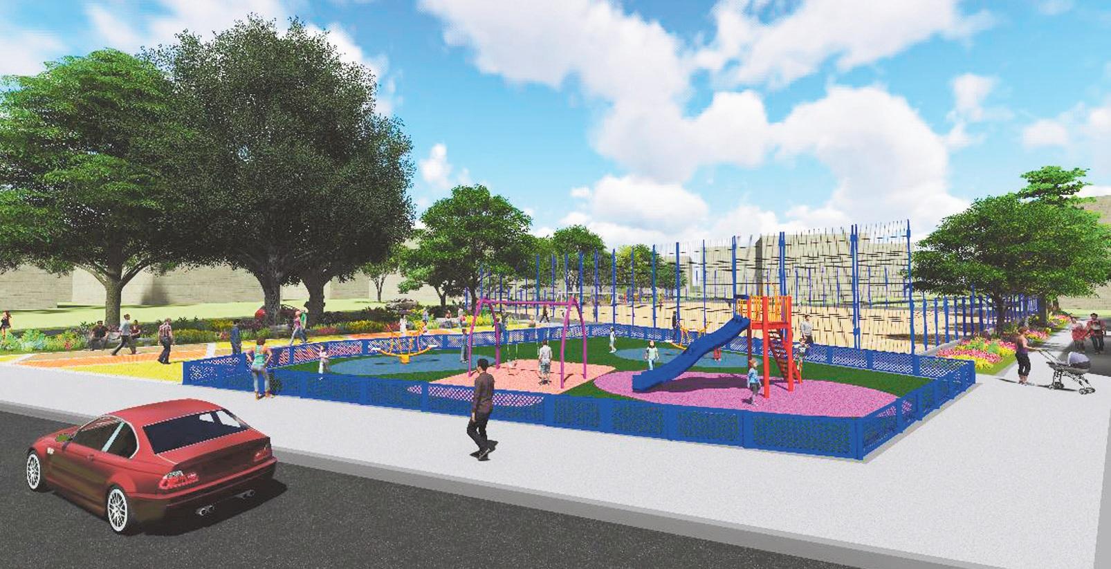 Render que muestra las atracciones del Parque Édgar Perea, ubicado en el barrio Ciudadela 20 de Julio.