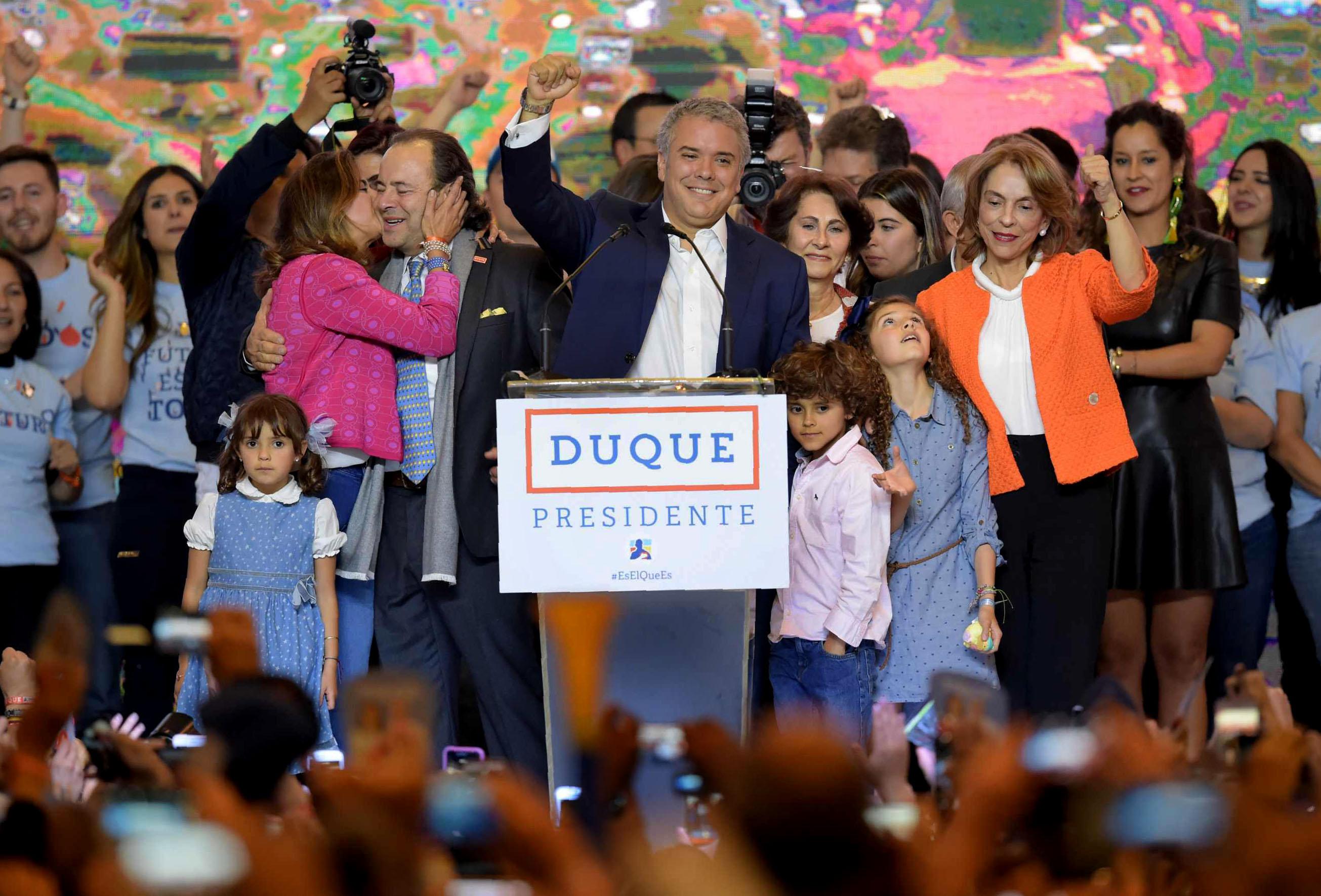 Iván Duque Márquez, presidente electo de Colombia durante su discurso como ganador.