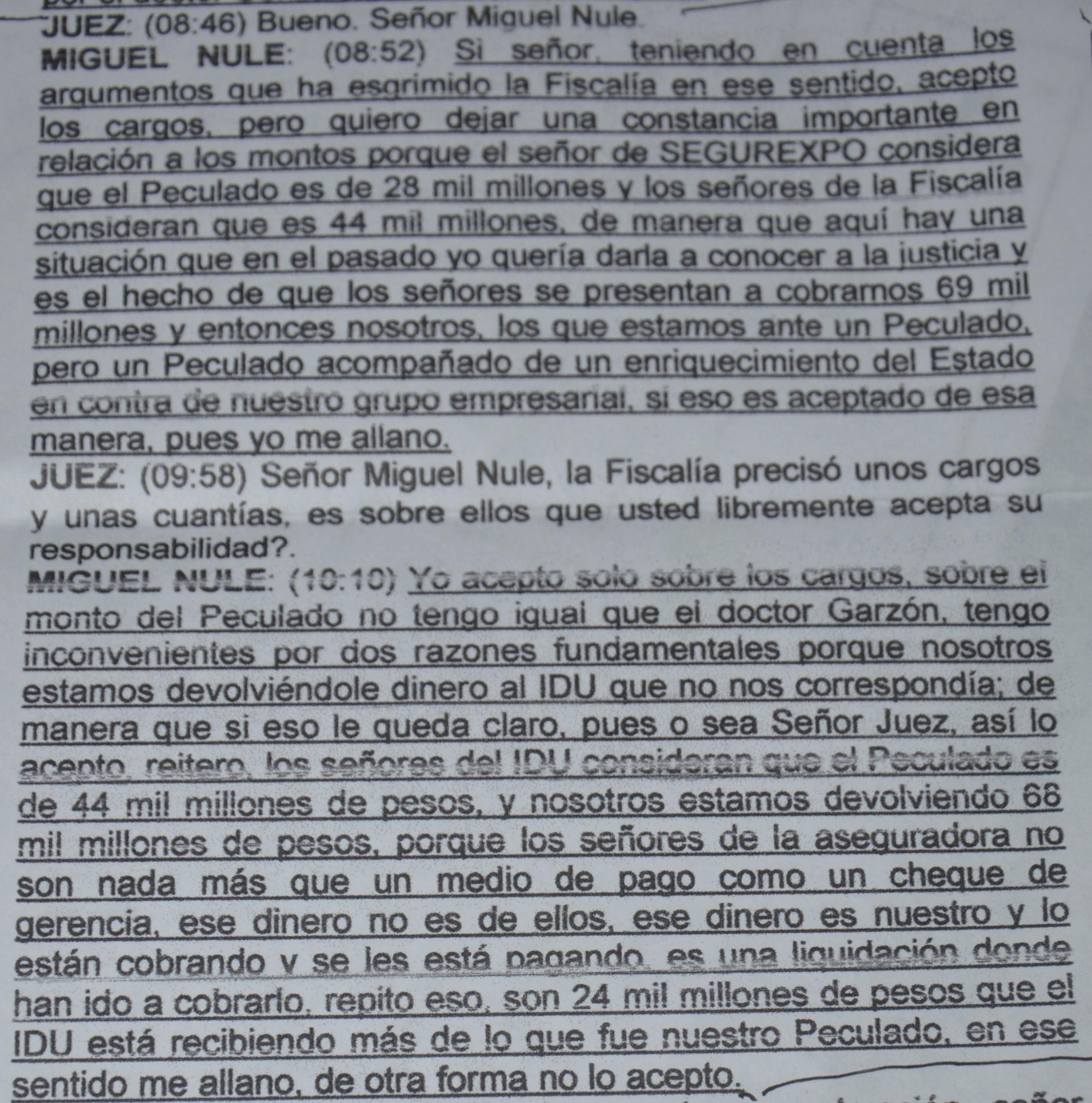 Declaración con la que Miguel Nule acepta cargos con reparos.