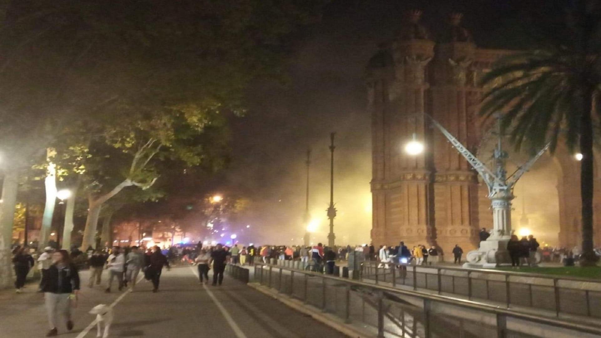 Disturbios en las calles principales de Barcelona.