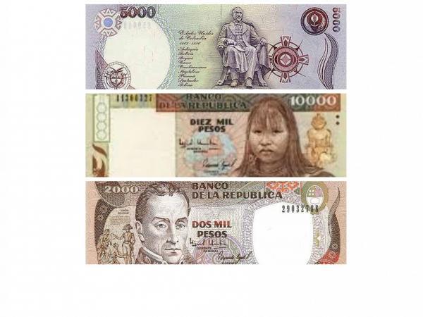 Los billetes de $5.000, $10.000 y $5.000 que sustrajeron del banco. Tenían dos meses en circulación.