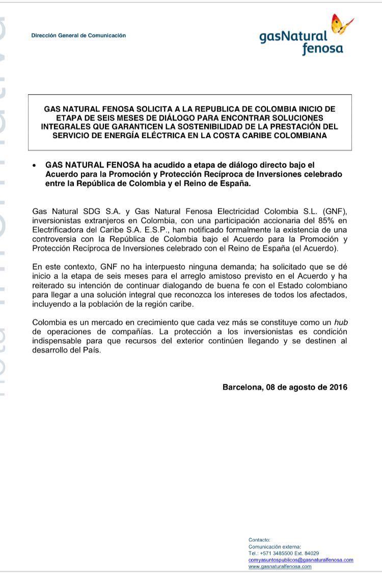 Uni n fenosa plantea controversia a colombia en el marco for Oficina union fenosa