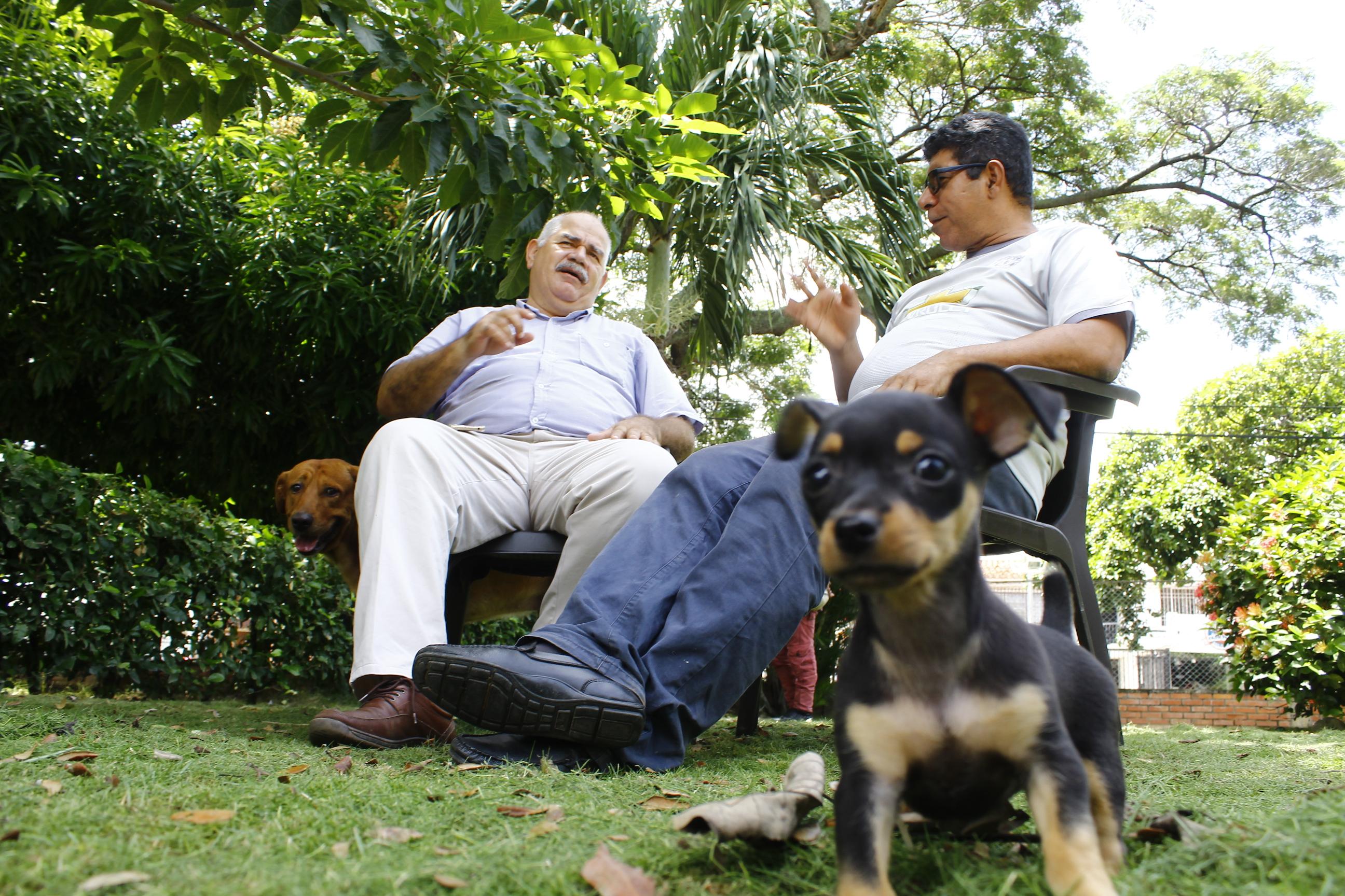 'Paco' y 'Venus', las mascotas de Lacouture y Caicedo, respectivamente, al lado de sus dueños.