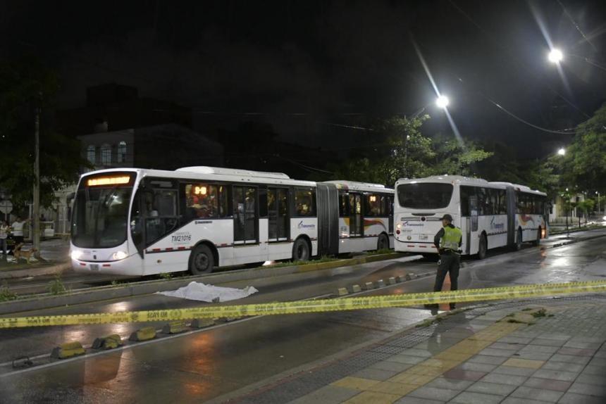 Escena del accidente de tránsito en el que perdió la vida Emilio Santander Delima Barros, de 73 años.