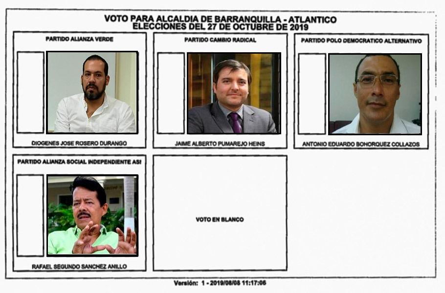 Este es el orden de los candidatos a la Alcaldía.