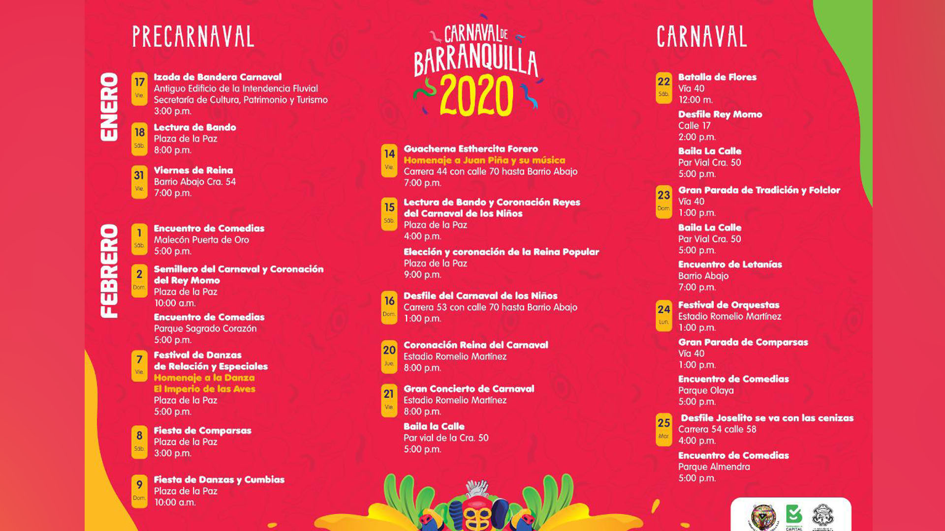 Programación de los eventos de pre y Carnaval 2020.