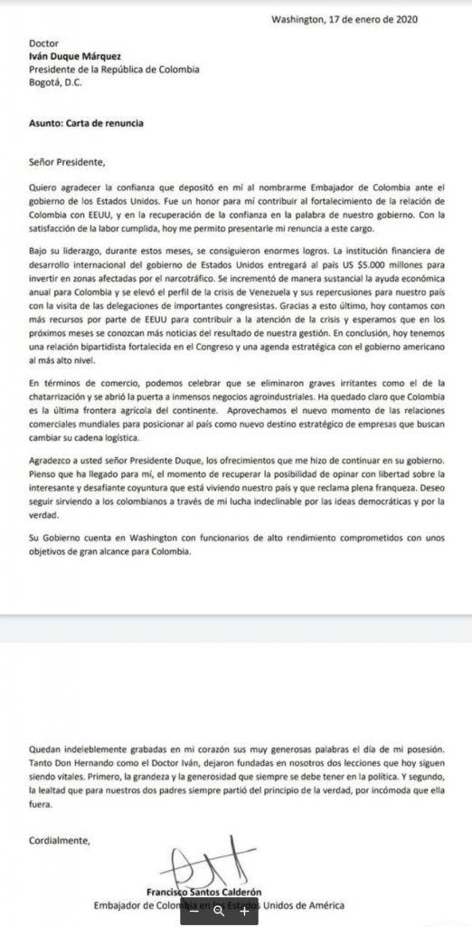 Esta es la carta de renuncia de Francisco Santos al presidente Iván Duque.