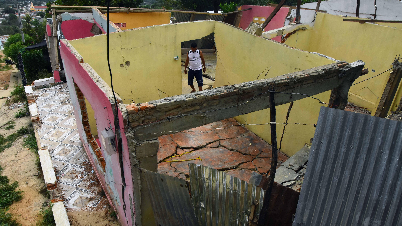Varias de las 61 viviendas totalmente colapsadas en el barrio Alto Prado. en el municipio del Carmen de Bolívar.