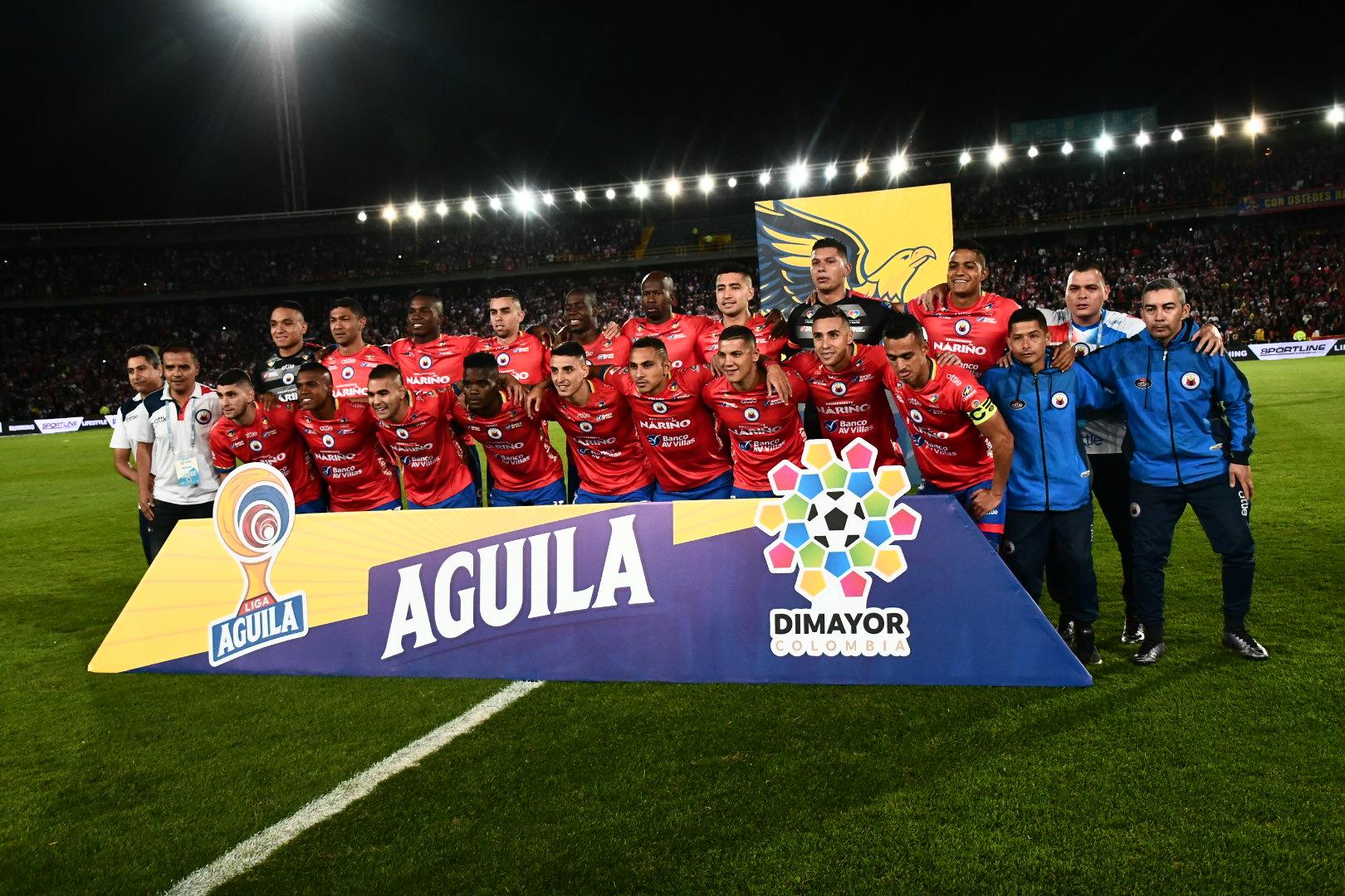 Los jugadores del Deportivo Pasto, subcampeones del Fútbol Profesional Colombiano.