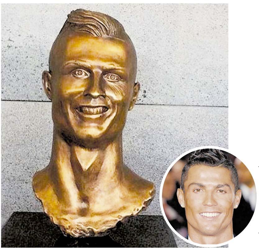 Cristiano Ronaldo. En 2017 fue instalado  un ridiculizado busto de CR7 en el Aeropuerto de Madeira. Al año, fue reemplazado por un mejor trabajo del mismo artista.