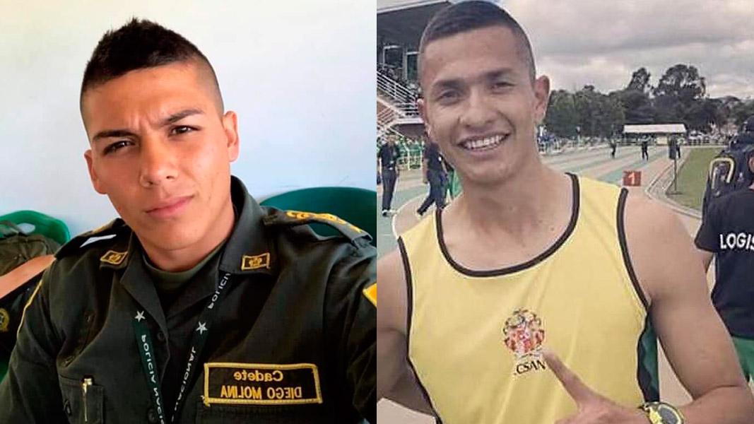 Los uniformados fallecidos Diego Molina y Allan Paul Bayona.