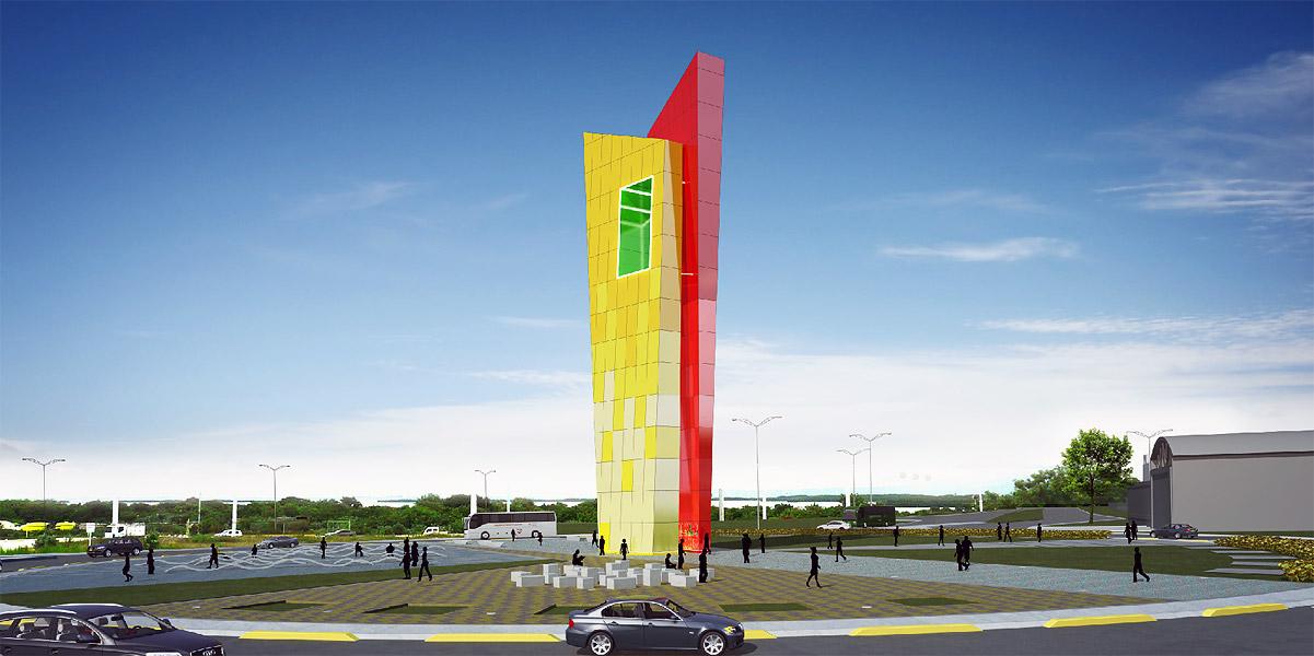 Así se verá el monumento en la rotonda cercana al complejo industrial de Tecnoglass.