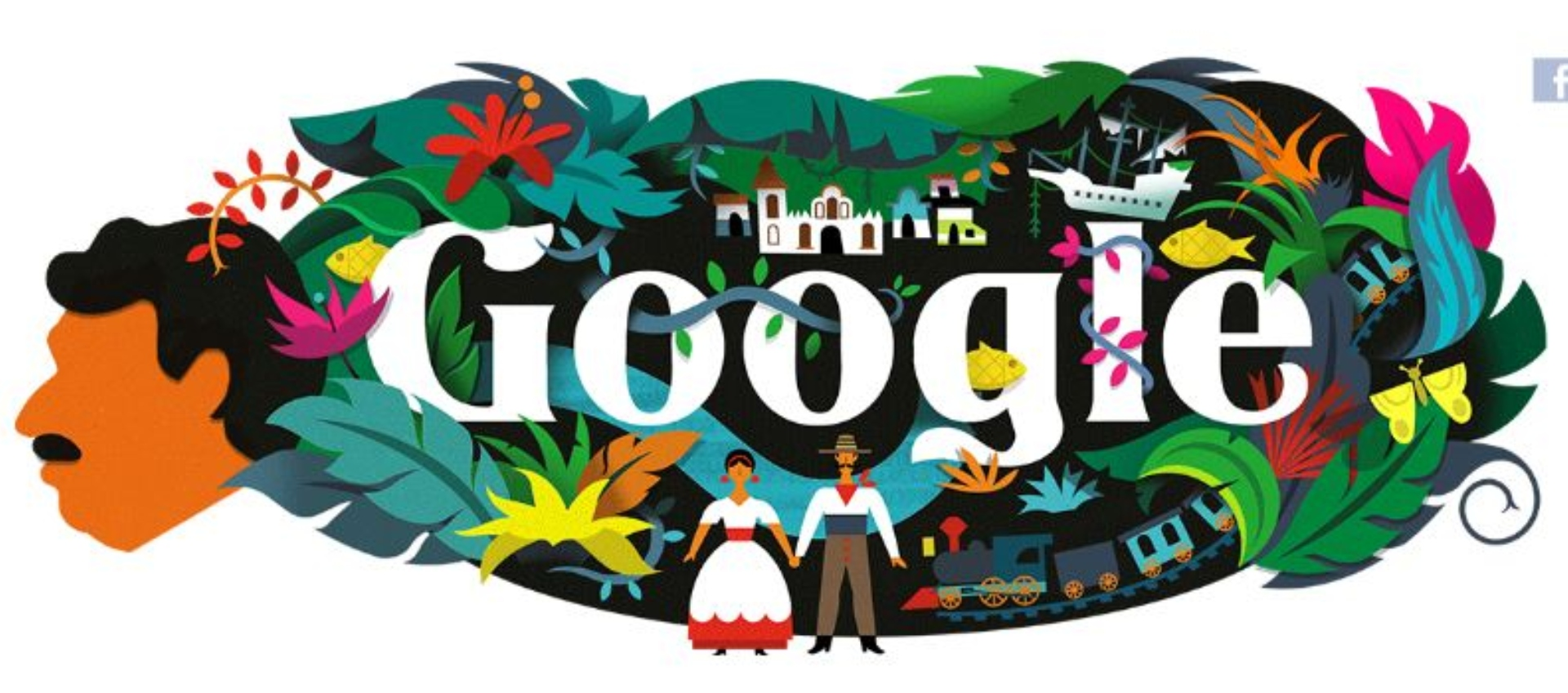 Doodle en homenaje al 91.º aniversario del nacimiento de Gabriel García Márquez.