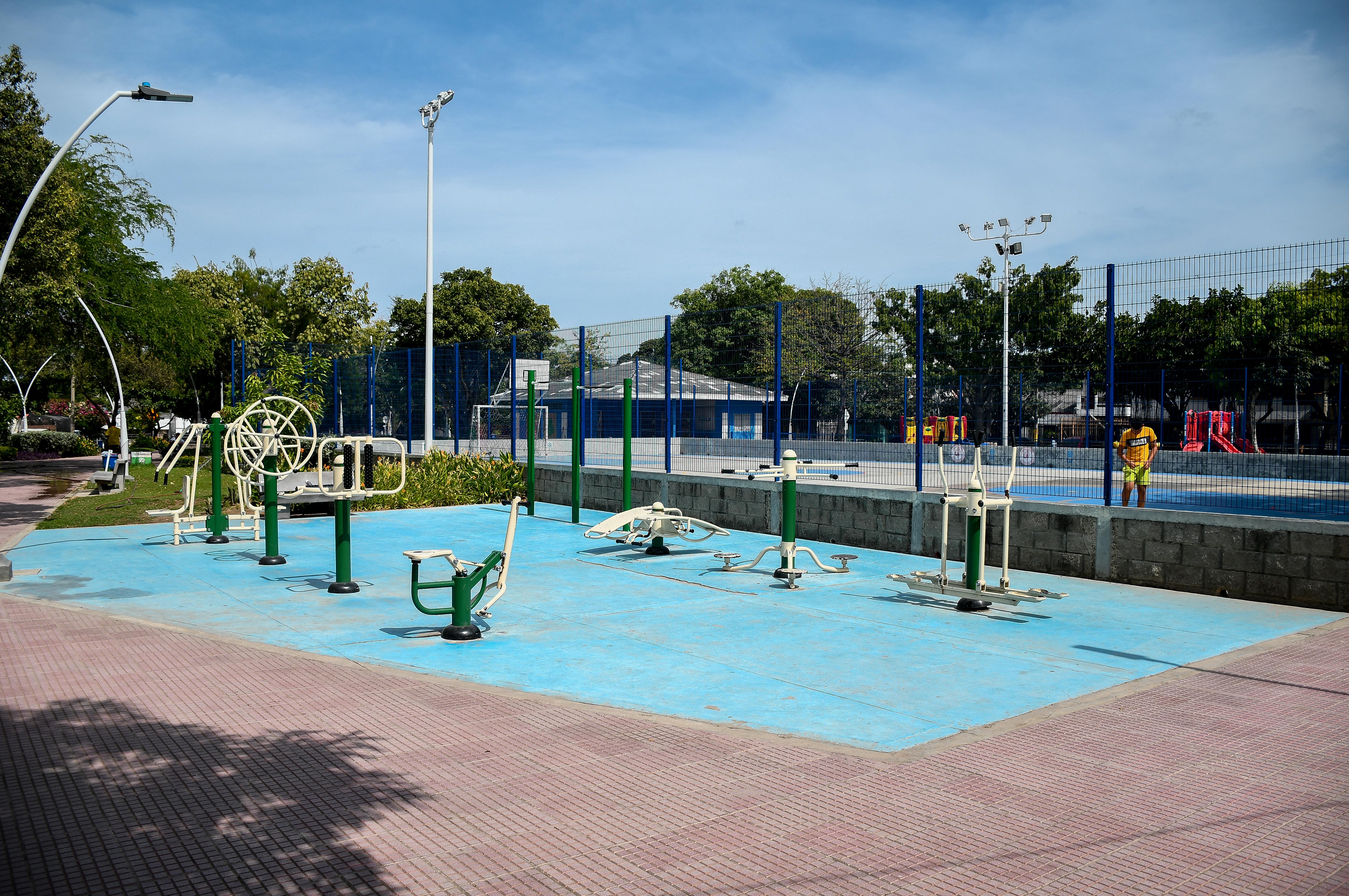 Parque Boyacá, donde habitantes protestan para que no sea instalada una antena.