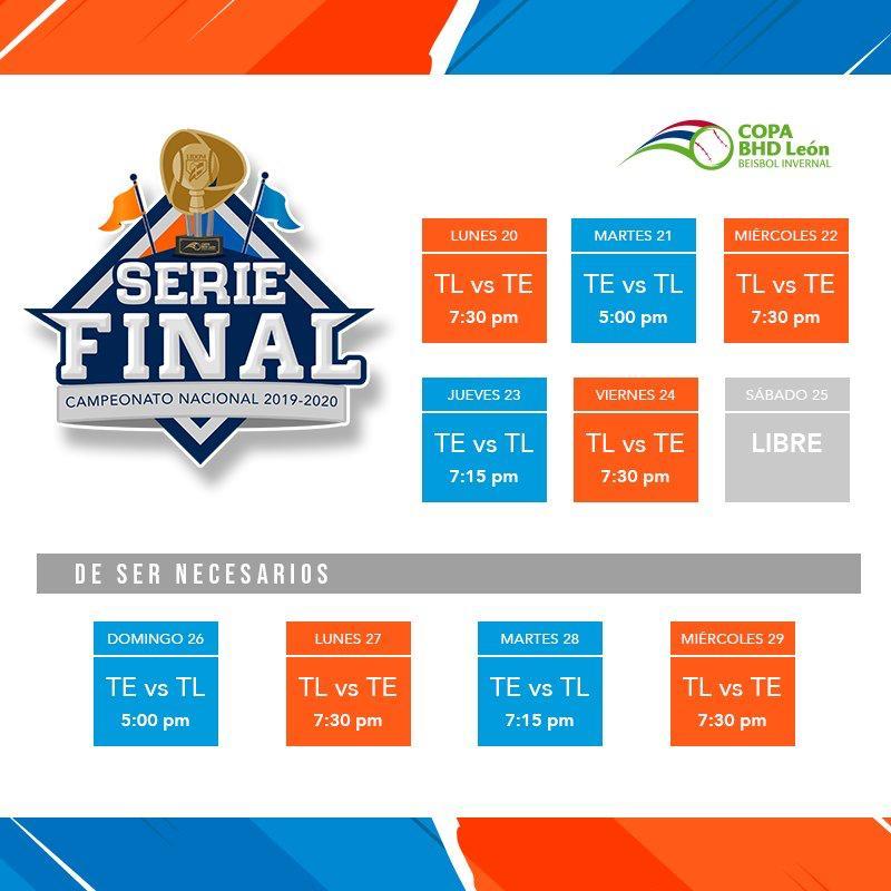 Así se jugará la final en la República Dominicana entre los Tigres del Licey y los Toros del Este.