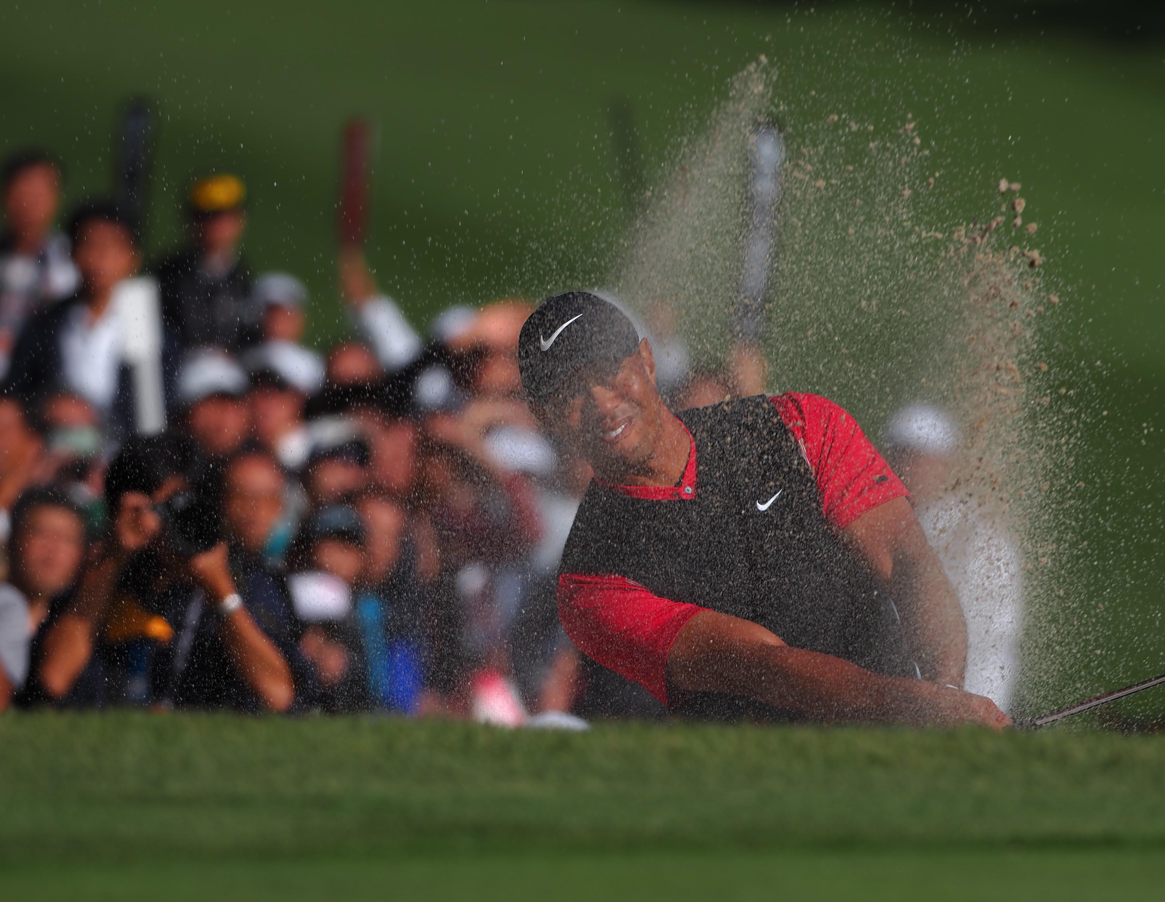 El golfista estadounidense en acción.
