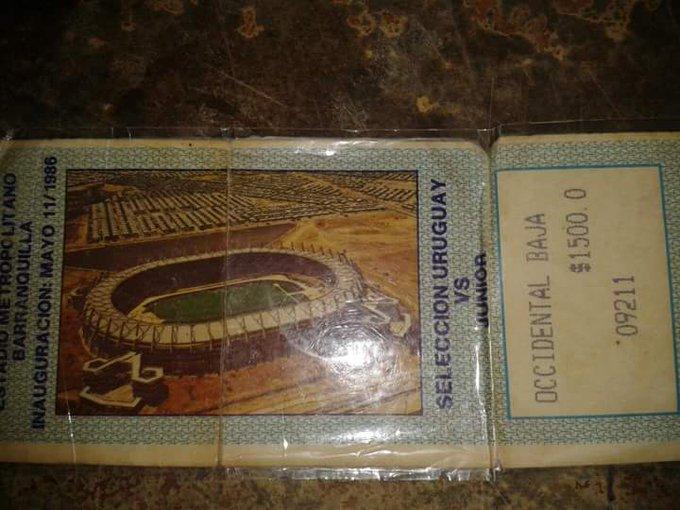 Así era la boleta de entrada para el duelo entre Junior y la selección de Uruguay.