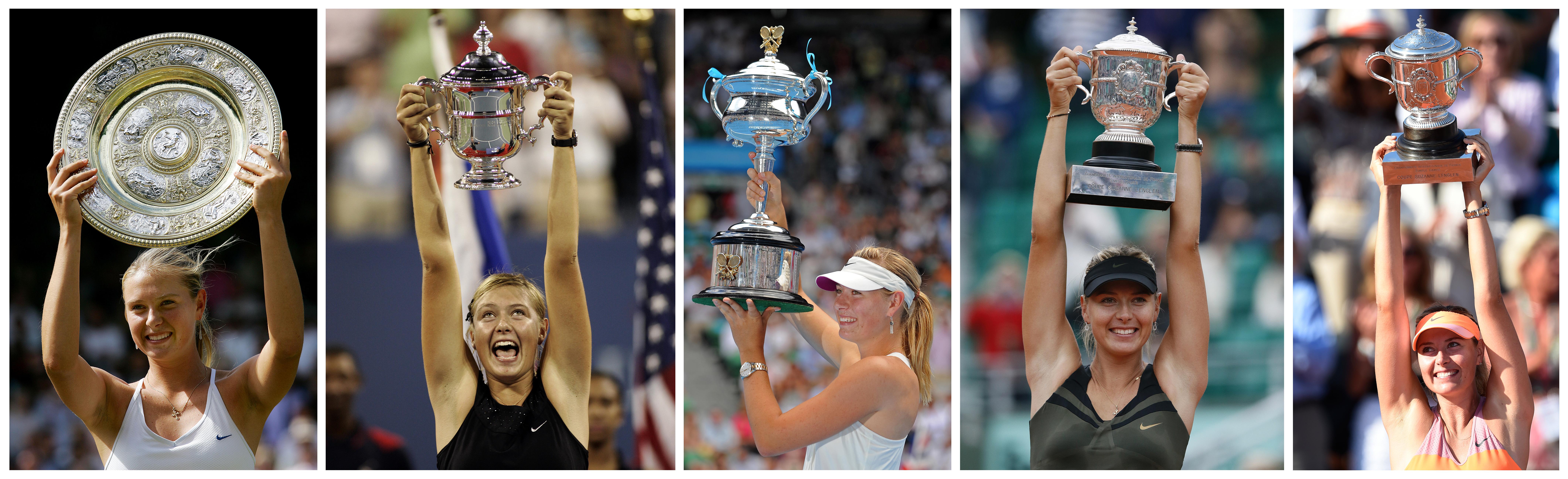 Los grandes títulos de la tenista rusa Maria Sharapova: Wimbledon 2004, US Open 2006, Abierto de Australia 2008 y Roland Garros 2012 y 2014.