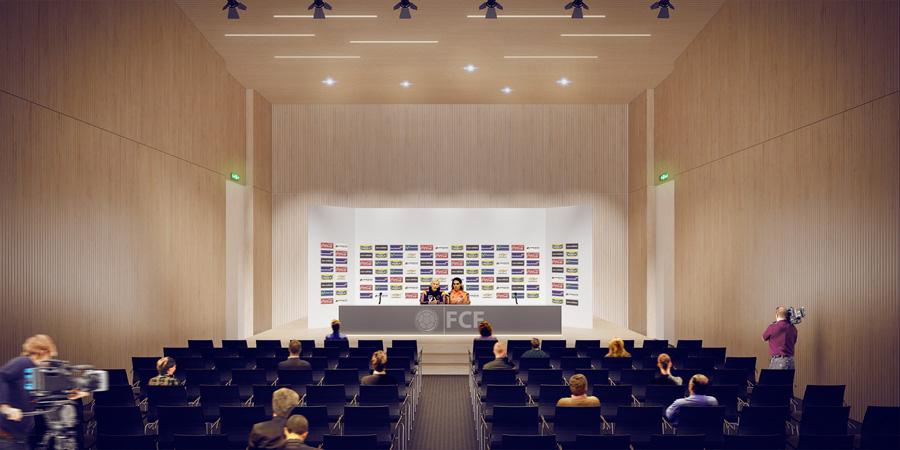 Salón diseñado para las conferencias de prensa.
