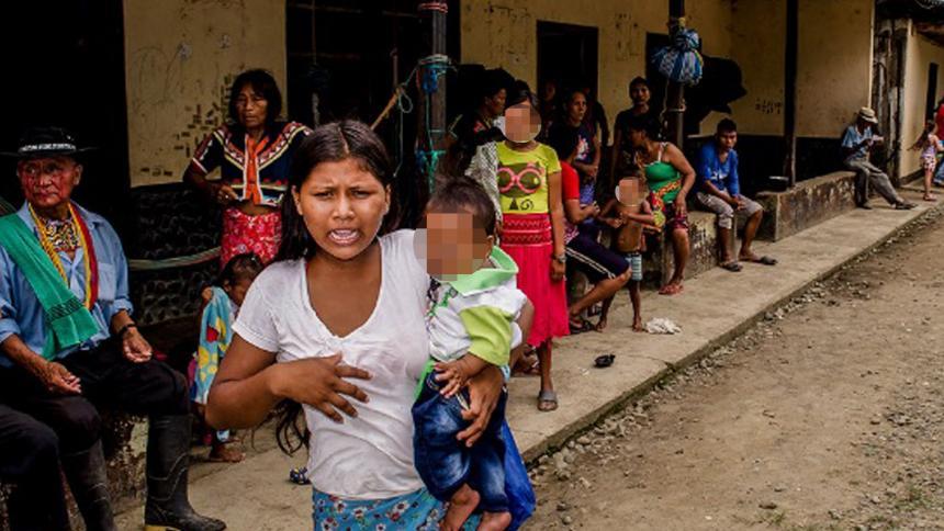 Comunidades indígenas desplazadas en el sur de Córdoba.