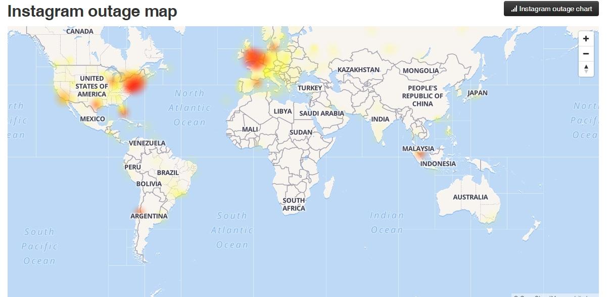 Países que reportaron fallas de funcionamiento en Instagram.