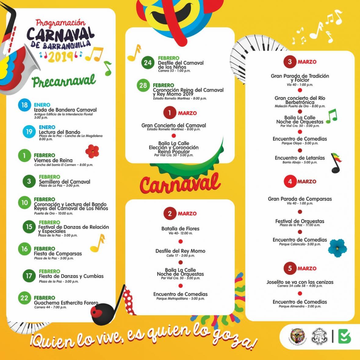 c53e6441e2df Vea aquí la programación oficial del Carnaval 2019 | El Heraldo